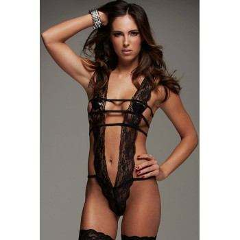 Body sexy, Teddy de encaje, color negro, ropa interior