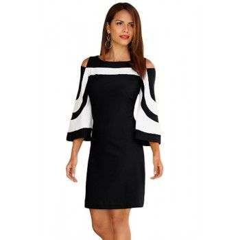 Vestido color-block, blanco y negro, elegante