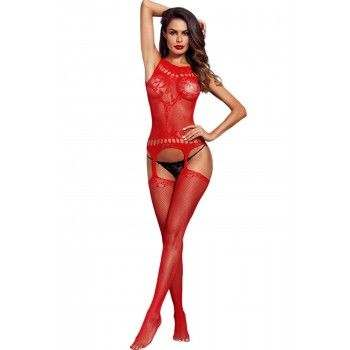 Bodystocking rojo de red elástica con calados.