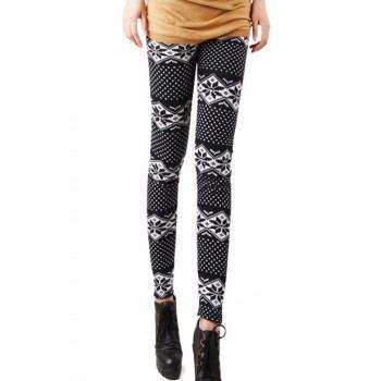 Leggings de invierno con estampado blanco y negro