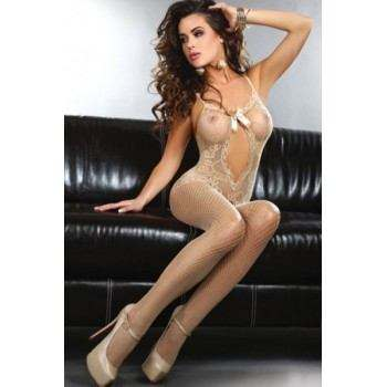 Bodystocking, medias del cuerpo color crema